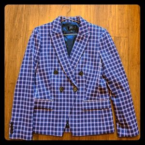 J.Crew Pink/Blue Plaid double breasted blazer
